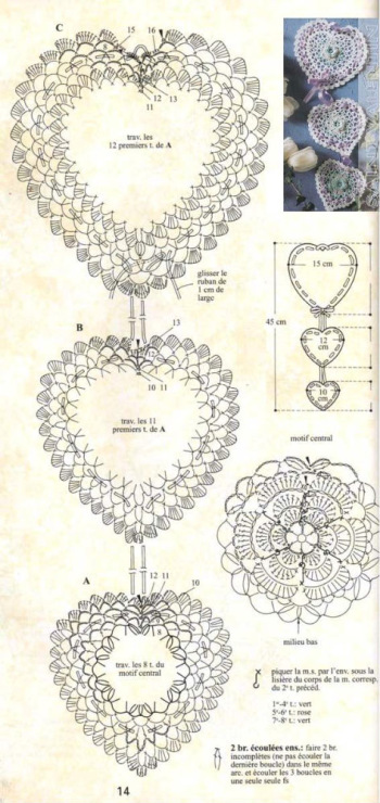 Вязание валентинок крючком схемы 43