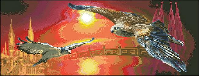 Вышивка крестом два орла 13