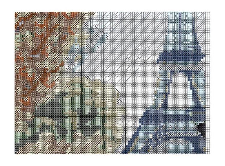 Схема вышивки крестом кафе в париже