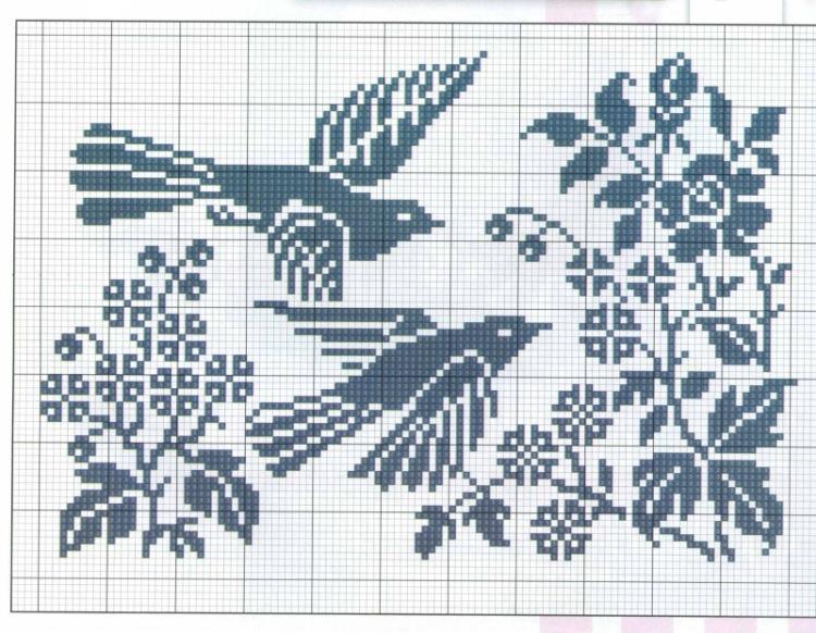 Вышивка цветы монохром схема вышивки