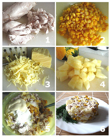 Салаты с кукурузой ананасом и курицей