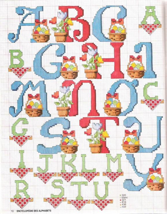 Схемы вышивки детского алфавита