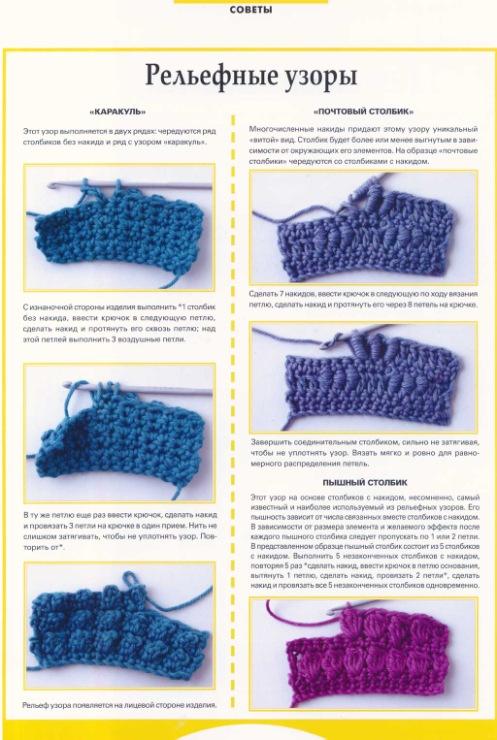 Особенности вязания рельефных объемных узоров спицами