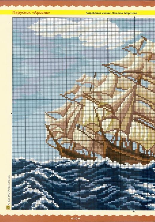 Вышивка корабли крестом схемы 40