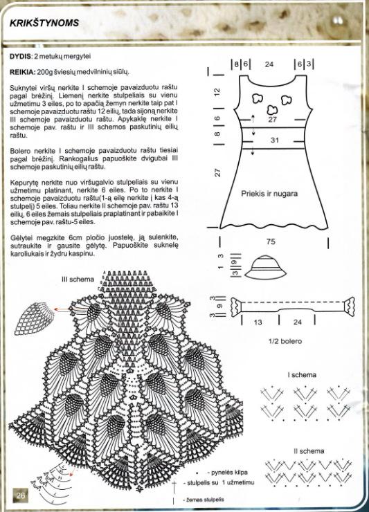 Вязаное платье для девочки крючком. 203 схемы вязания 99