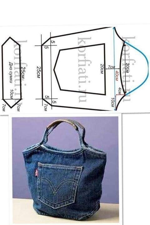Как сшить сумку из джинсов с выкройками своими руками