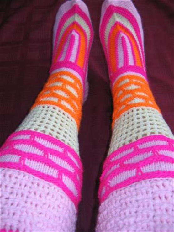 Вязание носок на осинке