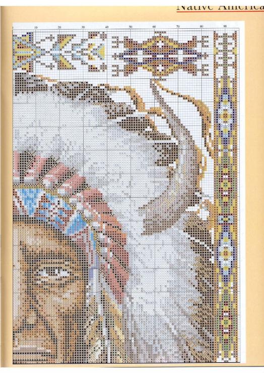 Схема вышивки крестиком индианка 48